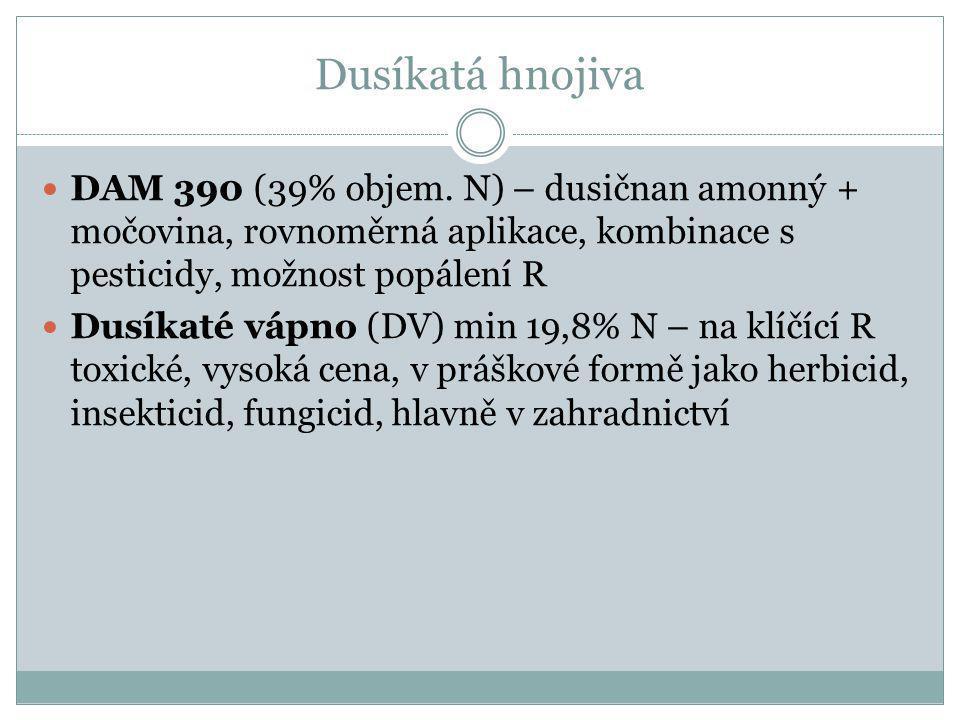 Dusíkatá hnojiva DAM 390 (39% objem.
