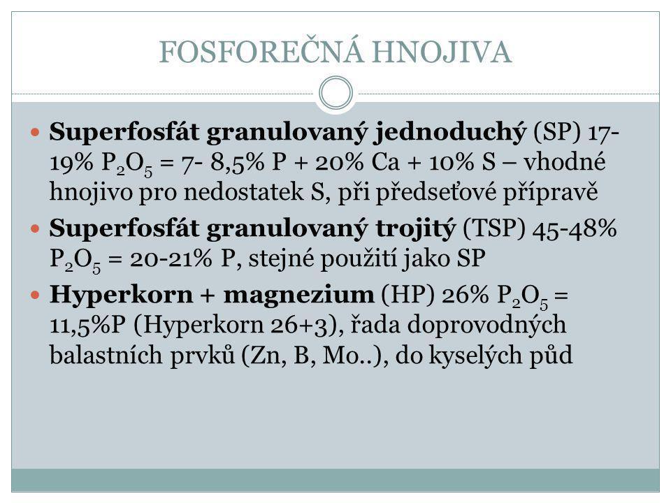 FOSFOREČNÁ HNOJIVA Superfosfát granulovaný jednoduchý (SP) 17- 19% P 2 O 5 = 7- 8,5% P + 20% Ca + 10% S – vhodné hnojivo pro nedostatek S, při předseť