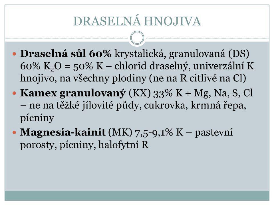 DRASELNÁ HNOJIVA Draselná sůl 60% krystalická, granulovaná (DS) 60% K 2 O = 50% K – chlorid draselný, univerzální K hnojivo, na všechny plodiny (ne na R citlivé na Cl) Kamex granulovaný (KX) 33% K + Mg, Na, S, Cl – ne na těžké jílovité půdy, cukrovka, krmná řepa, pícniny Magnesia-kainit (MK) 7,5-9,1% K – pastevní porosty, pícniny, halofytní R