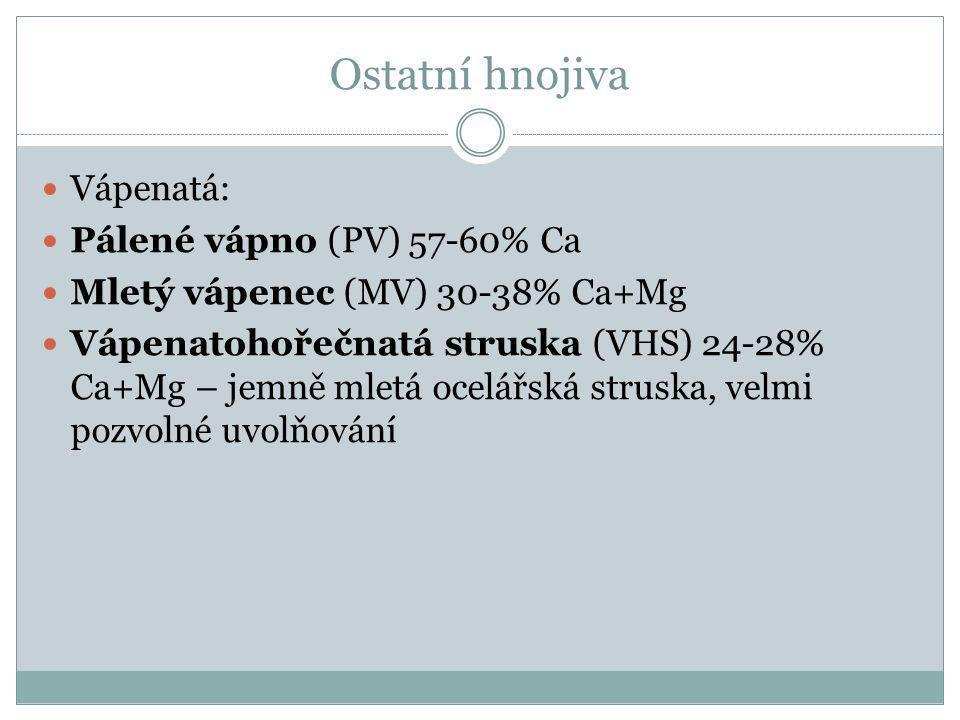 Ostatní hnojiva Vápenatá: Pálené vápno (PV) 57-60% Ca Mletý vápenec (MV) 30-38% Ca+Mg Vápenatohořečnatá struska (VHS) 24-28% Ca+Mg – jemně mletá ocelá