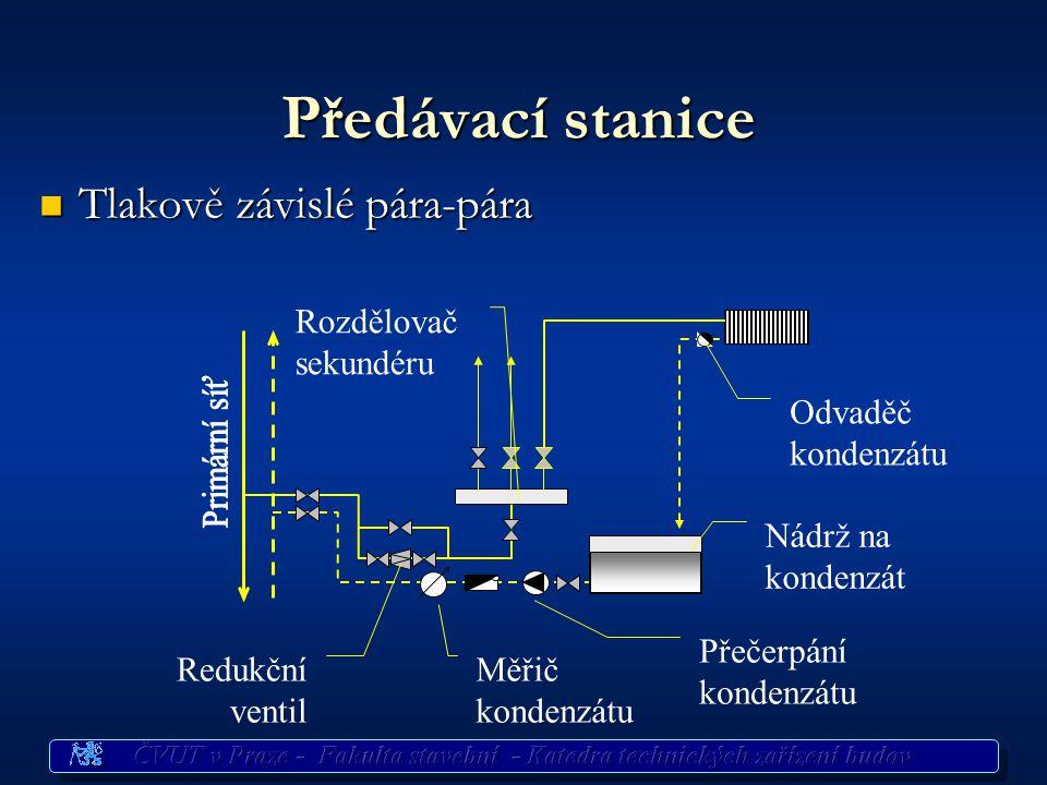 Předávací stanice Tlakově závislé pára-pára Tlakově závislé pára-pára Měřič kondenzátu Rozdělovač sekundéru Redukční ventil Nádrž na kondenzát Přečerp