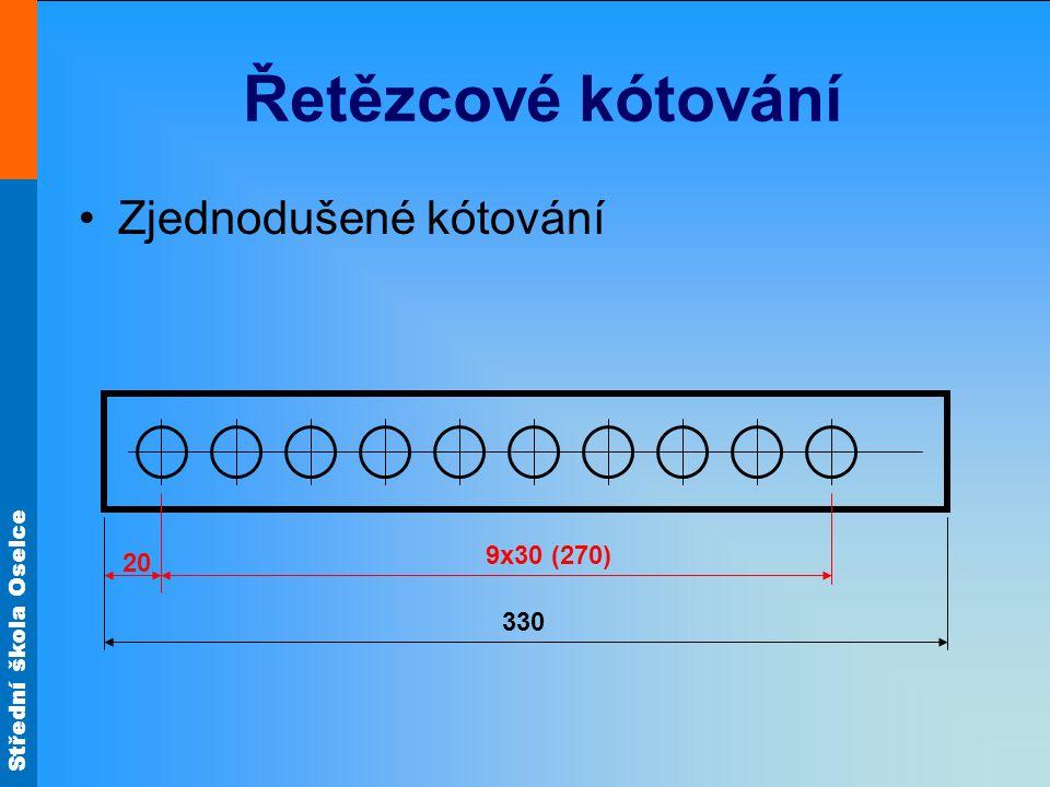 Střední škola Oselce Řetězcové kótování Zjednodušené kótování - přerušený objekt kótování 20 30 330 9x30 (270)