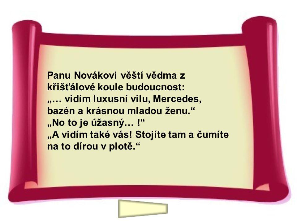 """Panu Novákovi věští vědma z křišťálové koule budoucnost: """"… vidím luxusní vilu, Mercedes, bazén a krásnou mladou ženu."""" """"No to je úžasný… !"""" """"A vidím"""