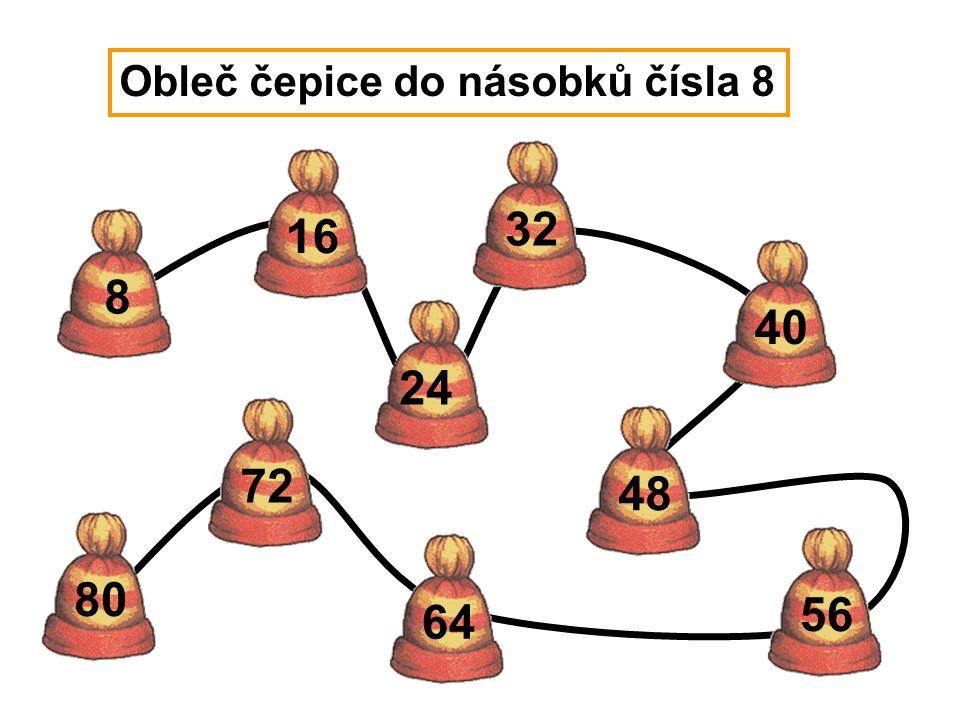 40 48 8 16 24 32 56 64 72 80 Obleč čepice do násobků čísla 8