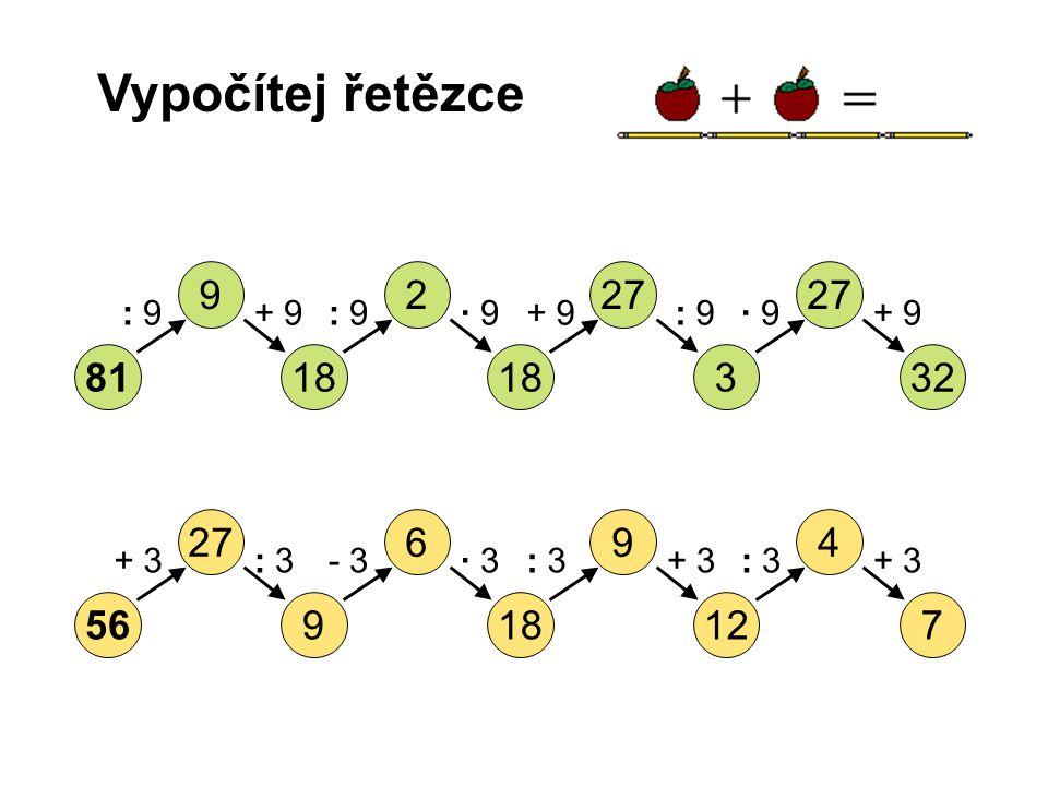 Vypočítej řetězce 8132318 27 29 : 9+ 9: 9· 9· 9+ 9: 9· 9+ 9 56712189 49627 + 3: 3- 3· 3: 3+ 3: 3+ 3