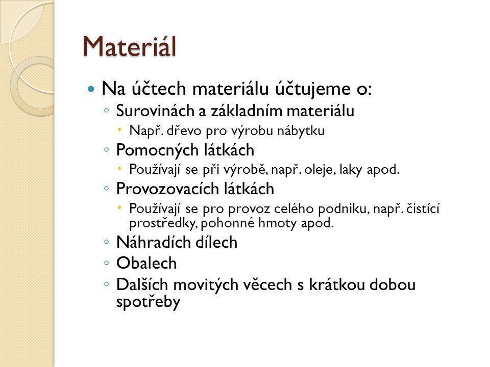 Materiál Na účtech materiálu účtujeme o: ◦ Surovinách a základním materiálu  Např. dřevo pro výrobu nábytku ◦ Pomocných látkách  Používají se při vý