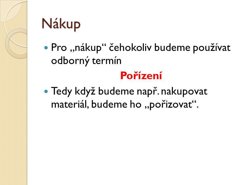 Souhrnný příklad MateriálPořízení materiálu N – Spotřeba materiálu 1.
