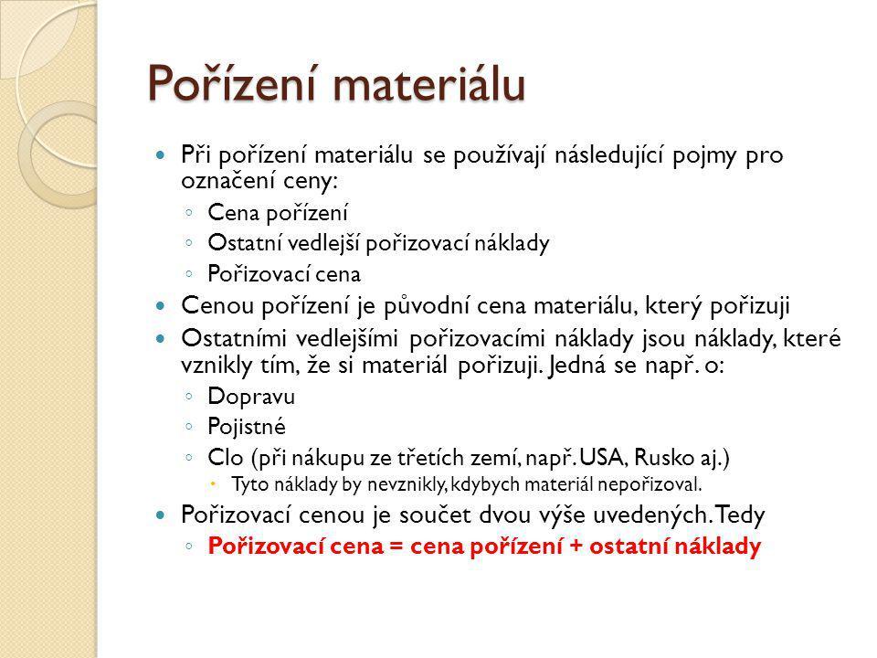 Pořízení materiálu Při pořízení materiálu se používají následující pojmy pro označení ceny: ◦ Cena pořízení ◦ Ostatní vedlejší pořizovací náklady ◦ Po