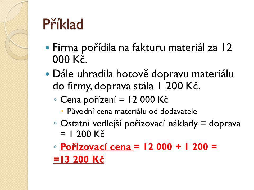 Pořízení materiálu Za účelem zjištění pořizovací ceny při nákupu neúčtujeme přímo na účet Materiál, ale používá se účet Pořízení materiálu Na tento účet účtujeme veškeré účetní operace při pořízení materiálu.