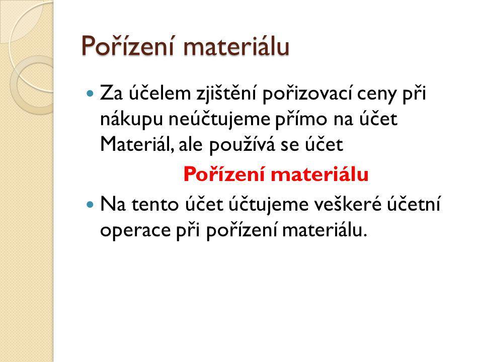 Pořízení materiálu PokladnaPořízení materiálu XX Při nákupu zaúčtujeme na účet Pořízení Pokud materiál uhradíme hotově, ubyde nám z pokladny Nákup materiálu za hotové: DodavateléPořízení materiálu XX Při nákupu zaúčtujeme na účet Pořízení Pořídili jsme na fakturu, tedy zvyšuje se stav závazků Nákup materiálu na fakturu: Výdajový pokladní doklad Faktura přijatá Účtuje se takto nejen pořízení materiálu, ale i ostatní vedlejší pořizovací náklady při pořízení.