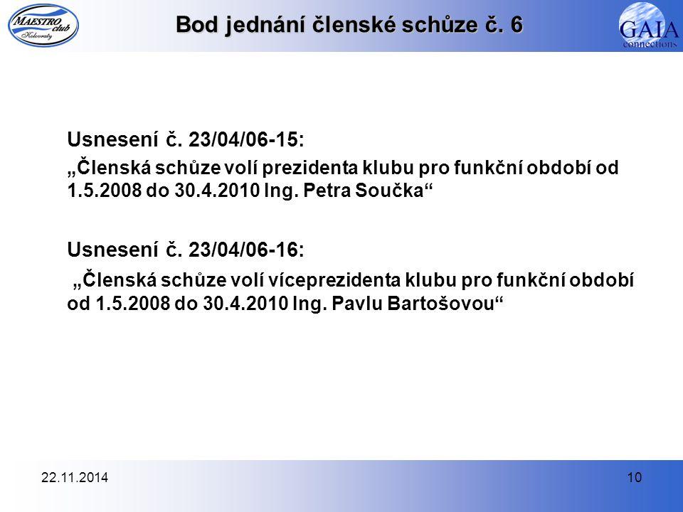 """22.11.201410 Bod jednání členské schůze č. 6 Usnesení č. 23/04/06-15: """"Členská schůze volí prezidenta klubu pro funkční období od 1.5.2008 do 30.4.201"""