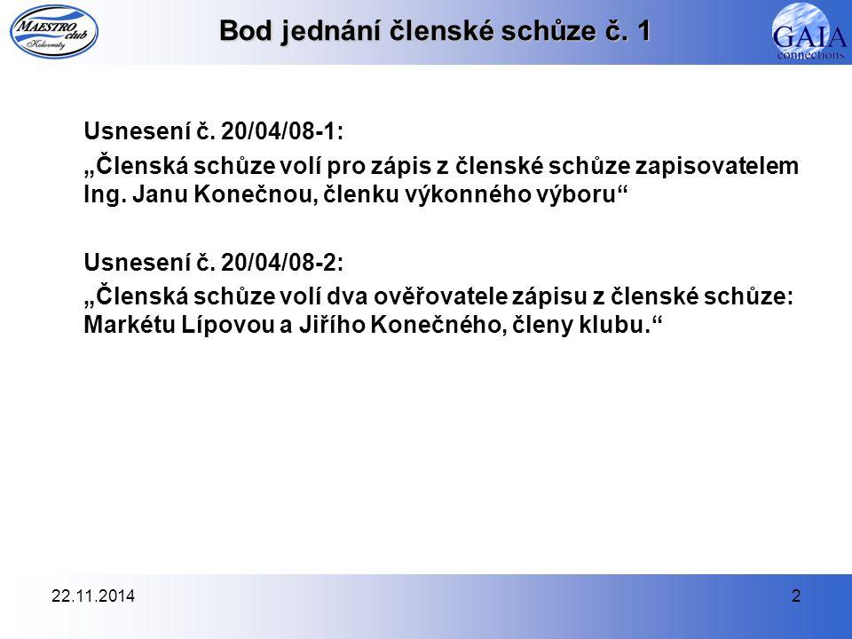 22.11.20143 Bod jednání členské schůze č.1 Usnesení č.