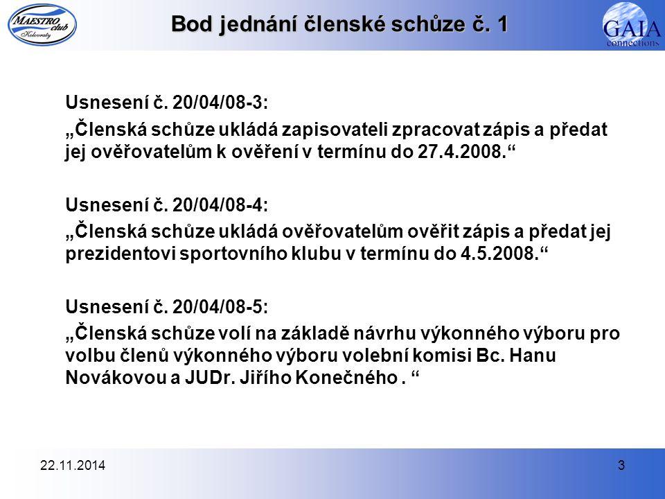 """22.11.20143 Bod jednání členské schůze č. 1 Usnesení č. 20/04/08-3: """"Členská schůze ukládá zapisovateli zpracovat zápis a předat jej ověřovatelům k ov"""