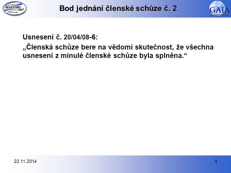 22.11.20144 Bod jednání členské schůze č. 2 Usnesení č.