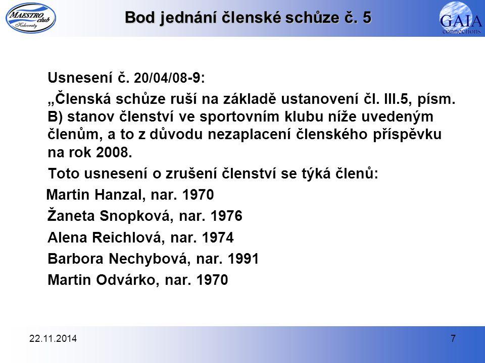 22.11.20147 Bod jednání členské schůze č. 5 Usnesení č.