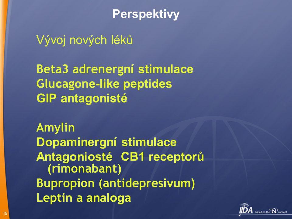 15 Perspektivy Vývoj nových léků Beta3 adrenerg ní stimulace Glu c agon e-like peptides GIP antagonisté Amylin Dopaminergní stimulace Antagoniosté CB1 receptorů (rimonabant) Bupropion (antidepres ivum) Leptin a analoga
