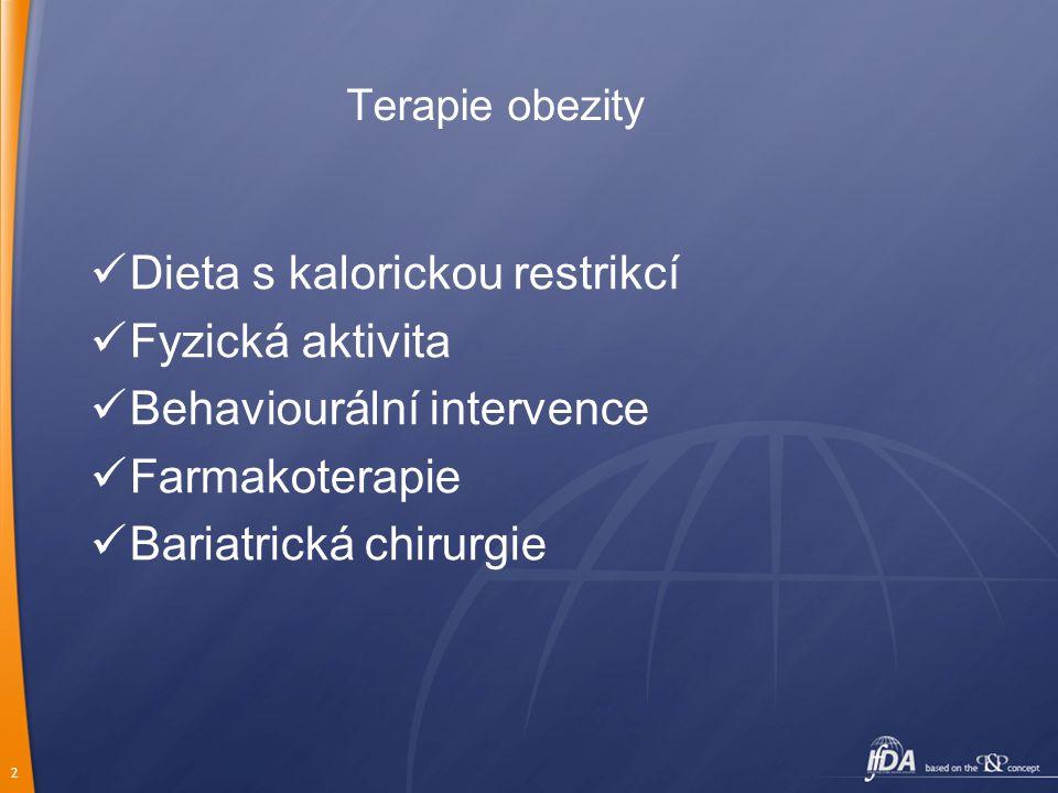 2 Terapie obezity Dieta s kalorickou restrikcí Fyzická aktivita Behaviourální intervence Farmakoterapie Bariatrická chirurgie
