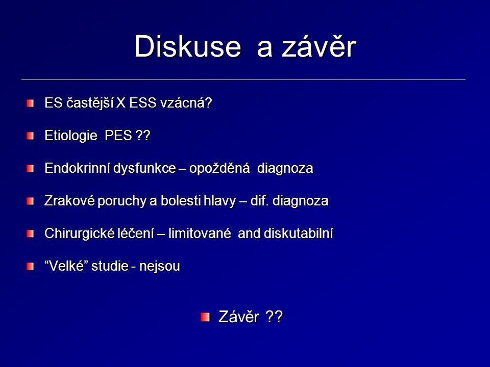 Diskuse a závěr ES častější X ESS vzácná? Etiologie PES ?? Endokrinní dysfunkce – opožděná diagnoza Zrakové poruchy a bolesti hlavy – dif. diagnoza Ch