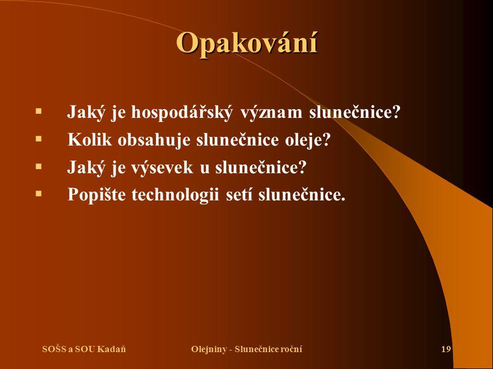 SOŠS a SOU KadaňOlejniny - Slunečnice roční19 Opakování  Jaký je hospodářský význam slunečnice.