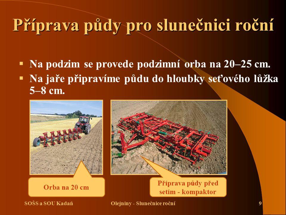 SOŠS a SOU KadaňOlejniny - Slunečnice roční9 Příprava půdy pro slunečnici roční  Na podzim se provede podzimní orba na 20–25 cm.