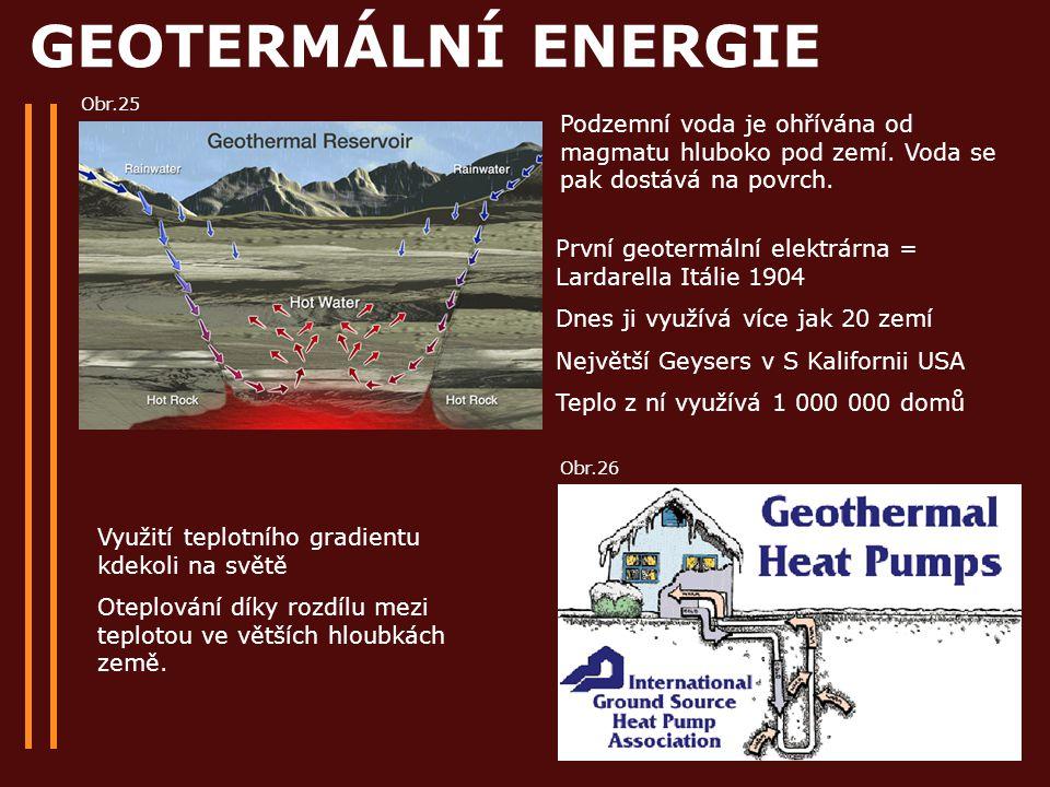 GEOTERMÁLNÍ ENERGIE První geotermální elektrárna = Lardarella Itálie 1904 Dnes ji využívá více jak 20 zemí Největší Geysers v S Kalifornii USA Teplo z