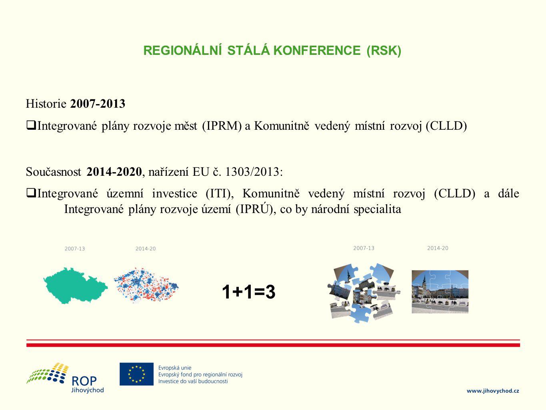 REGIONÁLNÍ STÁLÁ KONFERENCE (RSK) Historie 2007-2013  Integrované plány rozvoje měst (IPRM) a Komunitně vedený místní rozvoj (CLLD) Současnost 2014-2