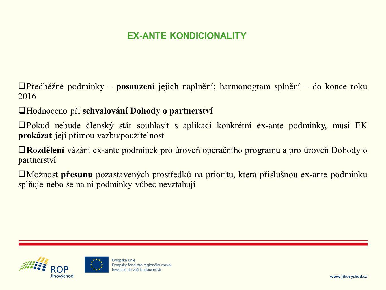 EX-ANTE KONDICIONALITY  Předběžné podmínky – posouzení jejich naplnění; harmonogram splnění – do konce roku 2016  Hodnoceno při schvalování Dohody o