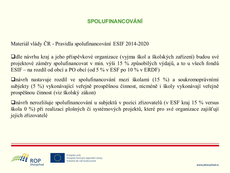SPOLUFINANCOVÁNÍ Materiál vlády ČR - Pravidla spolufinancování ESIF 2014-2020  dle návrhu kraj a jeho příspěvkové organizace (vyjma škol a školských