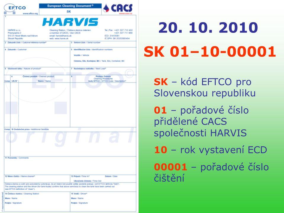 Představenstvo CACS informuje… HARVIS s.r.o. První ECD ve Slovenské republice byl vystaven 20.