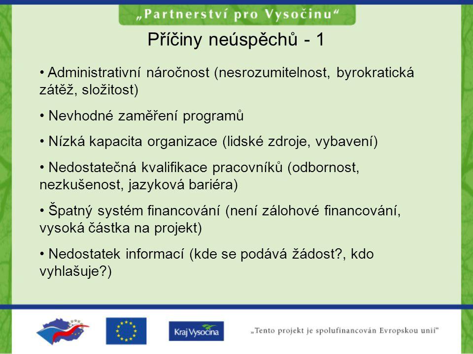 Příčiny neúspěchů - 1 Administrativní náročnost (nesrozumitelnost, byrokratická zátěž, složitost) Nevhodné zaměření programů Nízká kapacita organizace (lidské zdroje, vybavení) Nedostatečná kvalifikace pracovníků (odbornost, nezkušenost, jazyková bariéra) Špatný systém financování (není zálohové financování, vysoká částka na projekt) Nedostatek informací (kde se podává žádost , kdo vyhlašuje )