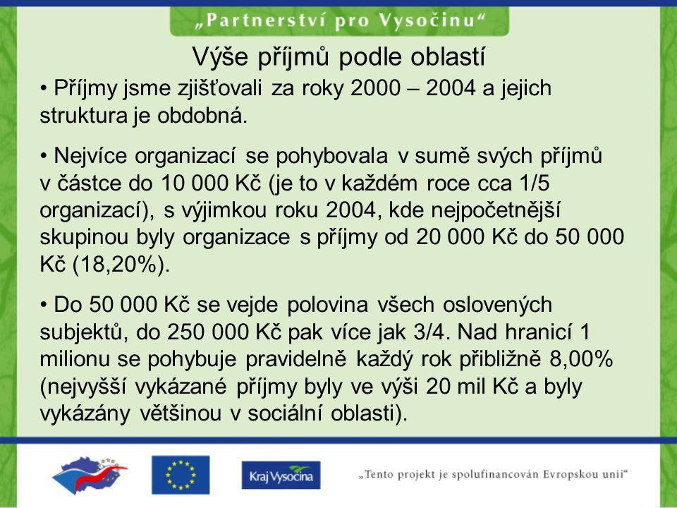 Výše příjmů podle oblastí Příjmy jsme zjišťovali za roky 2000 – 2004 a jejich struktura je obdobná.