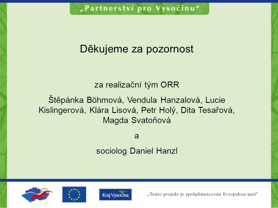 Děkujeme za pozornost za realizační tým ORR Štěpánka Böhmová, Vendula Hanzalová, Lucie Kislingerová, Klára Lisová, Petr Holý, Dita Tesařová, Magda Svatoňová a sociolog Daniel Hanzl