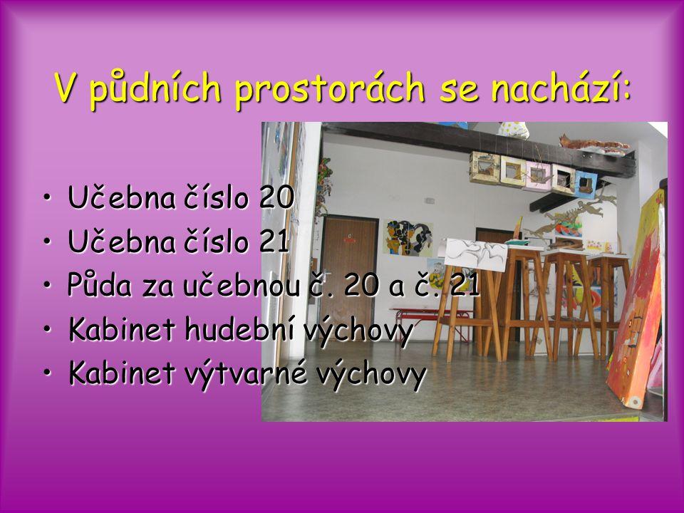 V půdních prostorách se nachází: Učebna číslo 20Učebna číslo 20 Učebna číslo 21Učebna číslo 21 Půda za učebnou č.