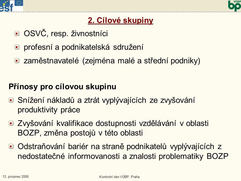 13. prosinec 2006 Kontrolní den VÚBP, Praha Přínosy pro cílovou skupinu Snížení nákladů a ztrát vyplývajících ze zvyšování produktivity práce Zvyšován