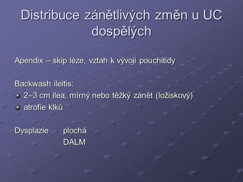 Distribuce zánětlivých změn u UC dospělých Apendix – skip léze, vztah k vývoji pouchitidy Backwash ileitis: 2–3 cm ilea, mírný nebo těžký zánět (ložis