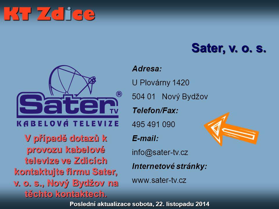 Sater, v. o. s. Adresa: U Plovárny 1420 504 01 Nový Bydžov Telefon/Fax: 495 491 090 E-mail: info@sater-tv.cz Internetové stránky: www.sater-tv.cz KT Z