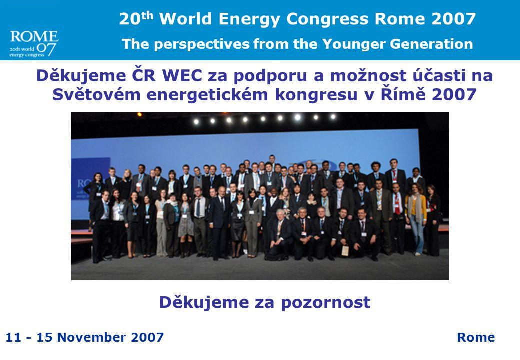11 - 15 November 2007Rome Děkujeme ČR WEC za podporu a možnost účasti na Světovém energetickém kongresu v Římě 2007 20 th World Energy Congress Rome 2007 The perspectives from the Younger Generation Děkujeme za pozornost