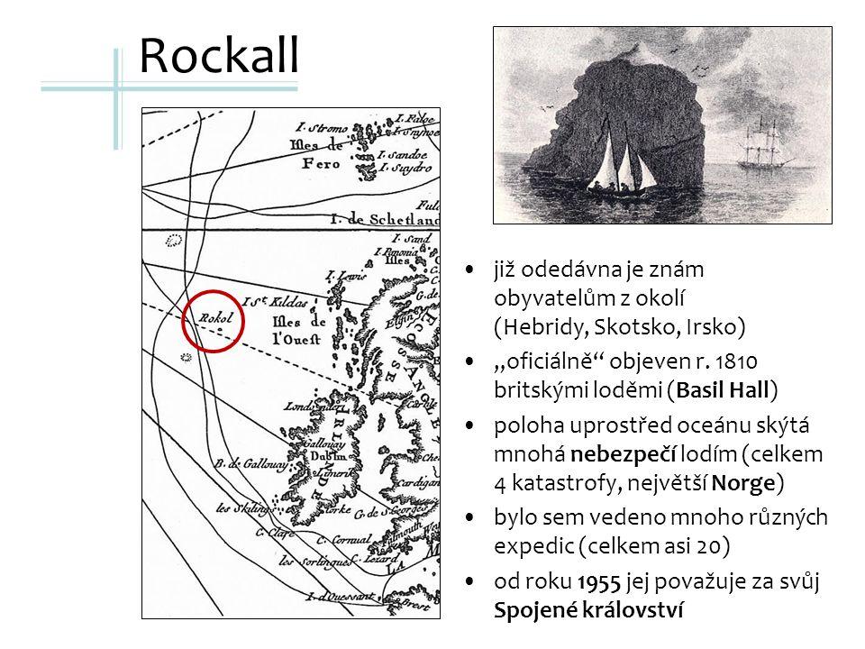 """Rockall již odedávna je znám obyvatelům z okolí (Hebridy, Skotsko, Irsko) """"oficiálně objeven r."""