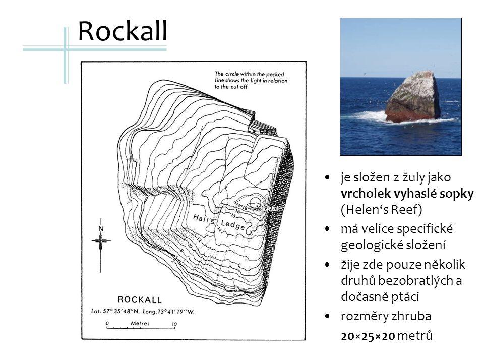 Rockall je složen z žuly jako vrcholek vyhaslé sopky (Helen's Reef) má velice specifické geologické složení žije zde pouze několik druhů bezobratlých a dočasně ptáci rozměry zhruba 20×25×20 metrů