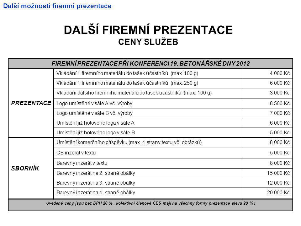 DALŠÍ FIREMNÍ PREZENTACE CENY SLUŽEB FIREMNÍ PREZENTACE PŘI KONFERENCI 19.