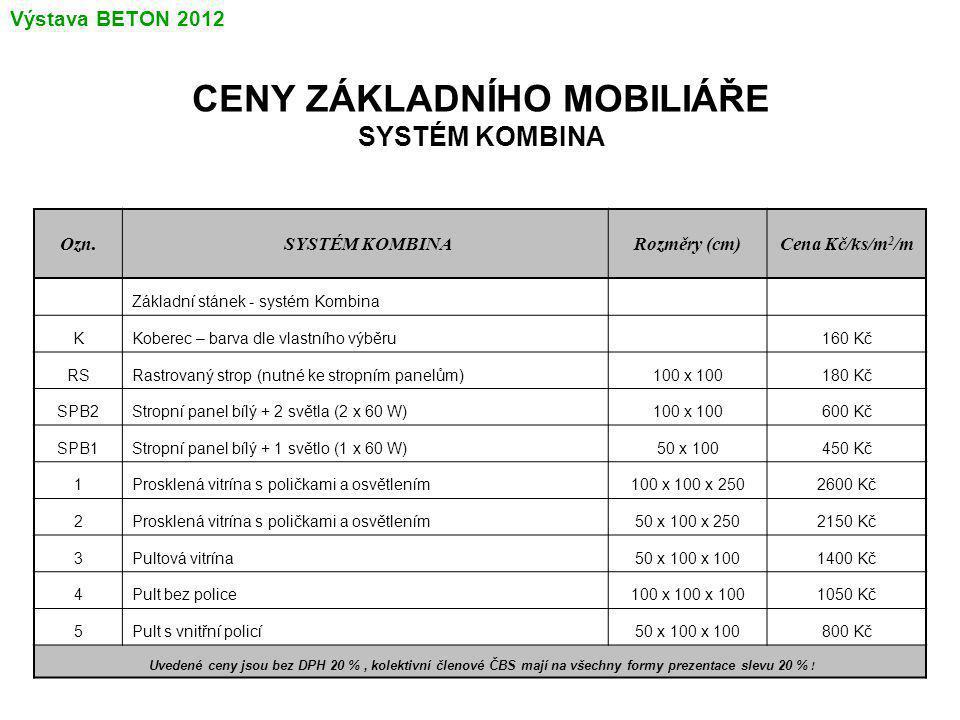 CENY ZÁKLADNÍHO MOBILIÁŘE SYSTÉM KOMBINA Ozn.