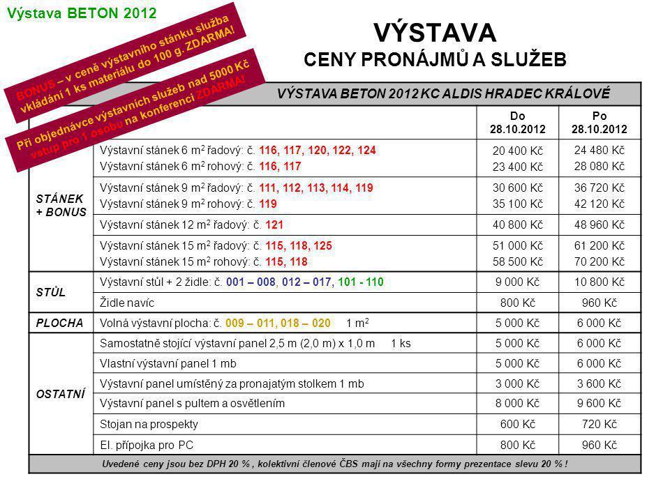 VÝSTAVA CENY PRONÁJMŮ A SLUŽEB VÝSTAVA BETON 2012 KC ALDIS HRADEC KRÁLOVÉ Do 28.10.2012 Po 28.10.2012 STÁNEK + BONUS Výstavní stánek 6 m 2 řadový: č.