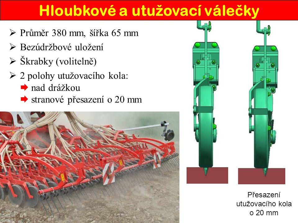  Průměr 380 mm, šířka 65 mm  Bezúdržbové uložení  Škrabky (volitelně)  2 polohy utužovacího kola:  nad drážkou  stranové přesazení o 20 mm Přesa