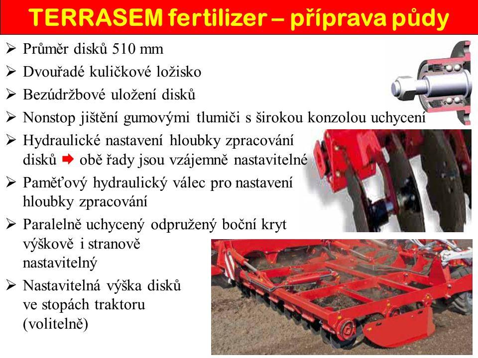 TERRASEM fertilizer – botky pro ulo ž ení hnojiva  Dvoudisková botka s přesazenými disky  Disky s průměrem 380 mm a šířkou 3 mm  Dvouřadé kuličkové ložisko  Bezúdržbové uložení disků  Rozteč botek 25 cm  Maximální přítlak na botky 80 kg