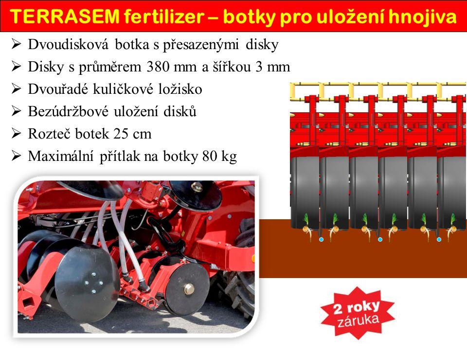TERRASEM fertilizer – botky pro ulo ž ení hnojiva  Dvoudisková botka s přesazenými disky  Disky s průměrem 380 mm a šířkou 3 mm  Dvouřadé kuličkové