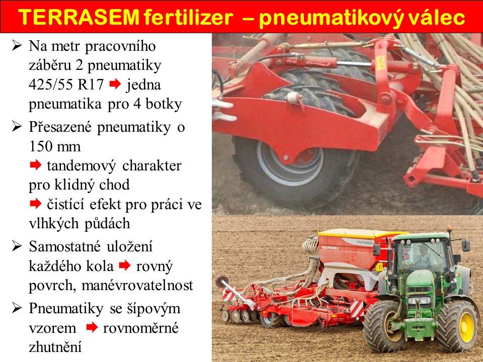  Na metr pracovního záběru 2 pneumatiky 425/55 R17  jedna pneumatika pro 4 botky  Přesazené pneumatiky o 150 mm  tandemový charakter pro klidný chod  čistící efekt pro práci ve vlhkých půdách  Samostatné uložení každého kola  rovný povrch, manévrovatelnost  Pneumatiky se šípovým vzorem  rovnoměrné zhutnění TERRASEM fertilizer – pneumatikový válec