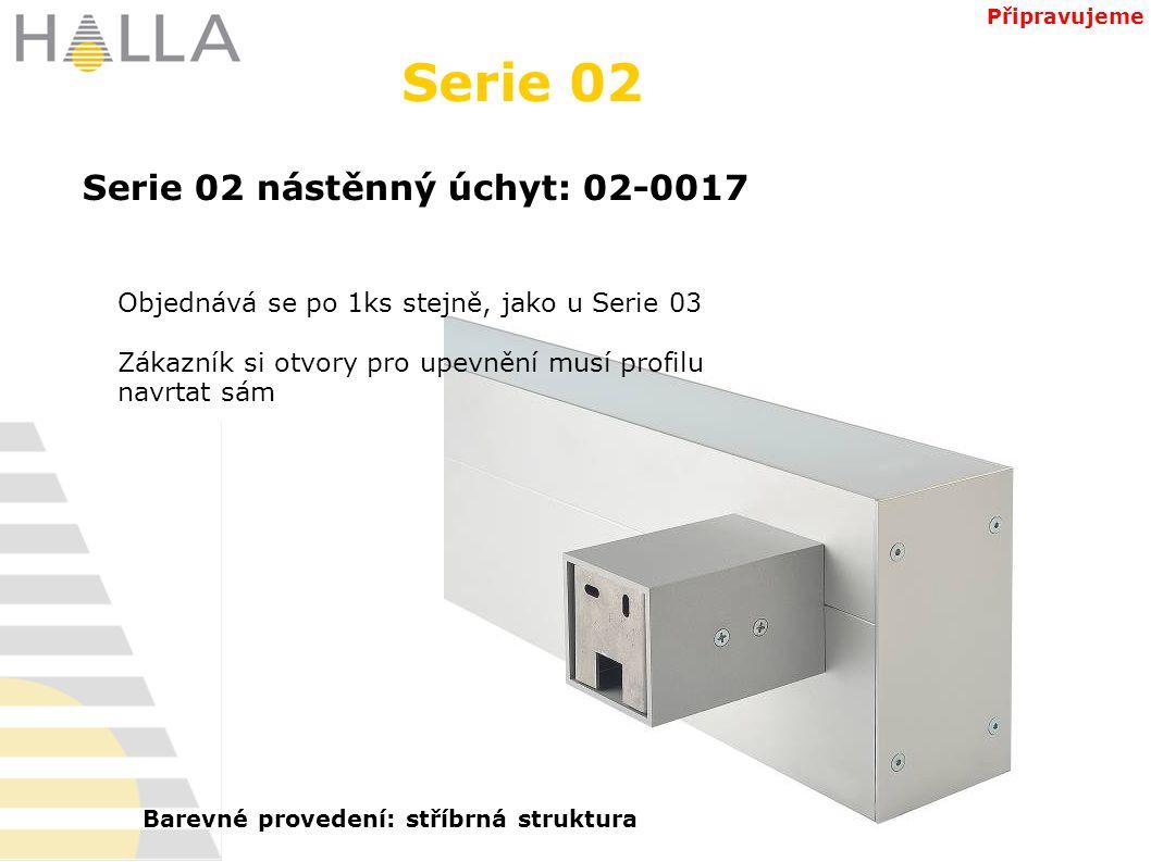 Serie 02 Objednává se po 1ks stejně, jako u Serie 03 Zákazník si otvory pro upevnění musí profilu navrtat sám Serie 02 nástěnný úchyt: 02-0017 Připravujeme Barevné provedení: stříbrná struktura