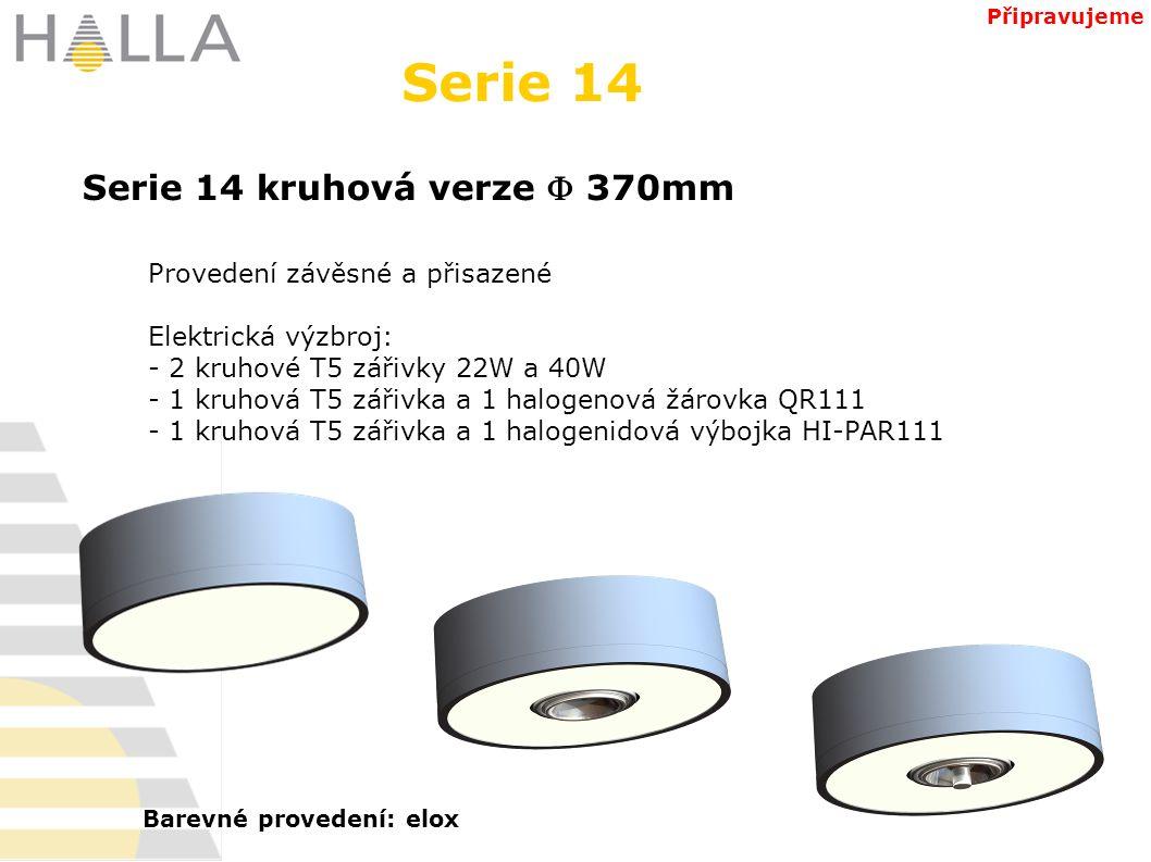 Serie 14 kruhová verze  370mm Serie 14 Připravujeme Provedení závěsné a přisazené Elektrická výzbroj: - 2 kruhové T5 zářivky 22W a 40W - 1 kruhová T5 zářivka a 1 halogenová žárovka QR111 - 1 kruhová T5 zářivka a 1 halogenidová výbojka HI-PAR111 Barevné provedení: elox