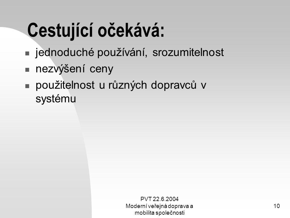 PVT 22.6.2004 Moderní veřejná doprava a mobilita společnosti 10 Cestující očekává: jednoduché používání, srozumitelnost nezvýšení ceny použitelnost u