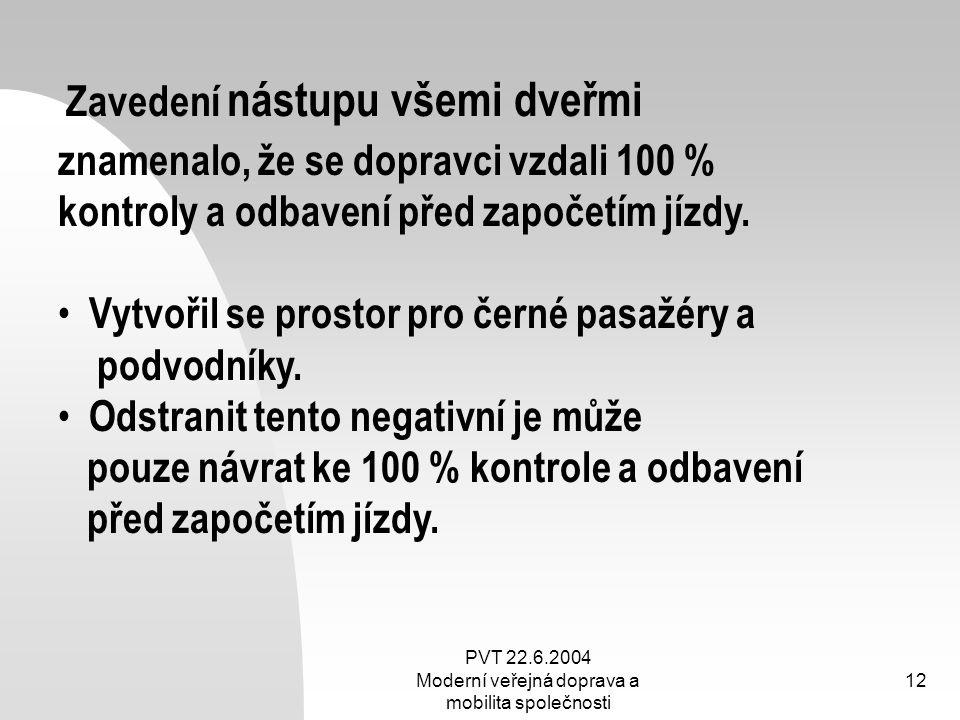 PVT 22.6.2004 Moderní veřejná doprava a mobilita společnosti 12 Zavedení nástupu všemi dveřmi znamenalo, že se dopravci vzdali 100 % kontroly a odbave